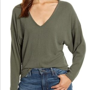 Lucky Brand Green Ribbed Cloud Jersey Top sz S